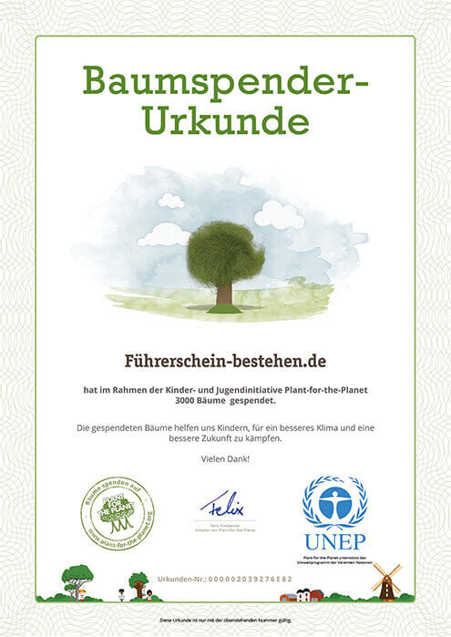 'Tree certificate' confirming 3,000 planted trees
